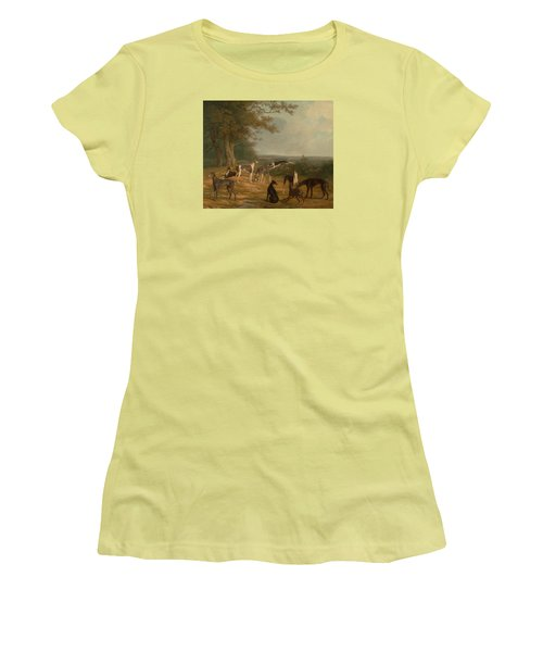 Nine Greyhounds In A Landscape Women's T-Shirt (Athletic Fit)