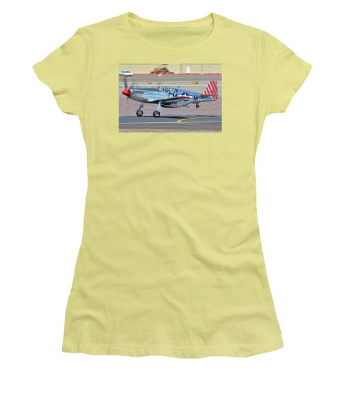 Women's T-Shirt (Junior Cut) featuring the photograph North American Tp-51c-10 Mustang Nl251mx Betty Jane Deer Valley Arizona April 13 2016 by Brian Lockett