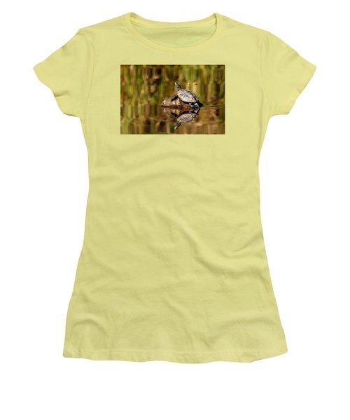 Northern Map Turtle Women's T-Shirt (Junior Cut) by Debbie Oppermann