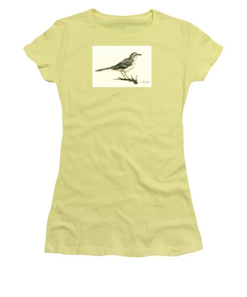 Northern Mockingbird Women's T-Shirt (Junior Cut) by Juan  Bosco
