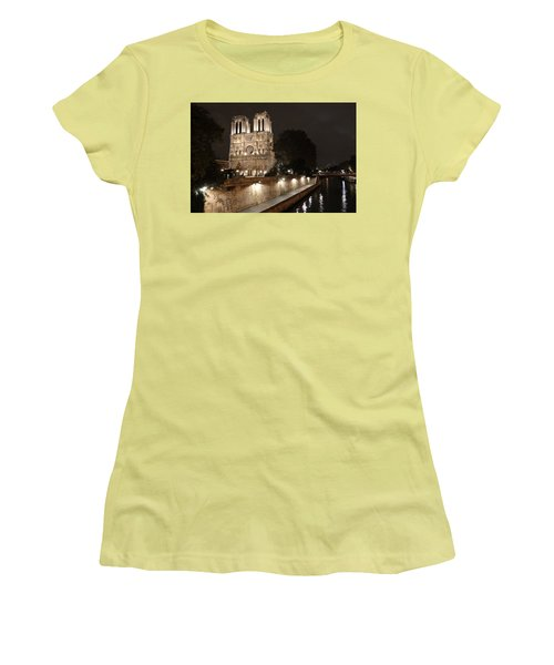 Women's T-Shirt (Junior Cut) featuring the photograph Notre Dame Cathedral From Petit Pont by Christopher Kirby