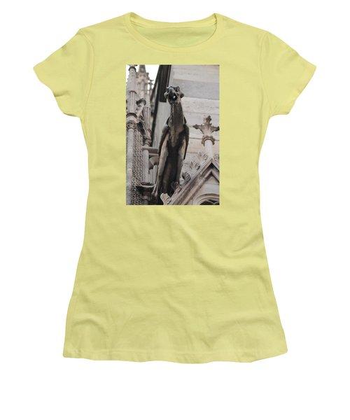 Rain Spouting Gargoyle. Women's T-Shirt (Junior Cut) by Christopher Kirby