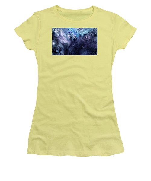 November Rain - Contemporary Blue Abstract Painting Women's T-Shirt (Athletic Fit)