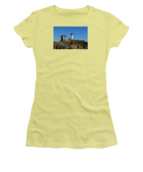 Nubble Lighthouse In Ogunquit  Women's T-Shirt (Junior Cut) by Richard Ortolano