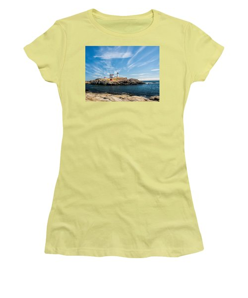 Nubble Lighthouse With Dramatic Clouds Women's T-Shirt (Athletic Fit)