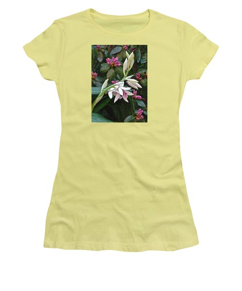 Nun Orchid Women's T-Shirt (Junior Cut) by Janis Nussbaum Senungetuk