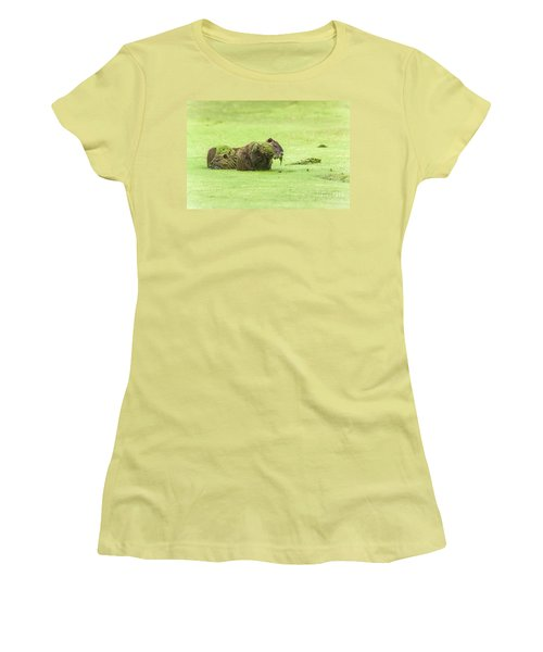 Women's T-Shirt (Junior Cut) featuring the photograph Nutria In A Pesto Sauce by Robert Frederick