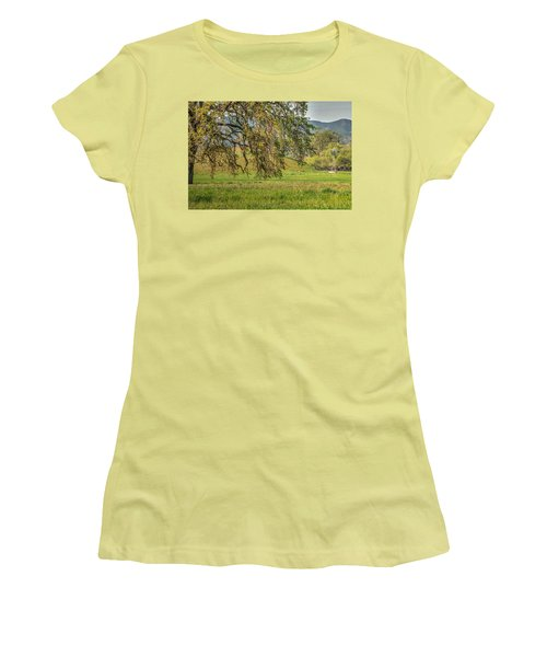 Oak And Windmill In Meadow Women's T-Shirt (Athletic Fit)