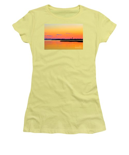 Oak Island Lighthouse Sunset Women's T-Shirt (Athletic Fit)