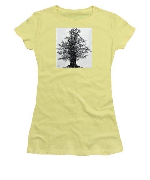 Women's T-Shirt (Junior Cut) featuring the drawing Oak Tree by Maja Sokolowska