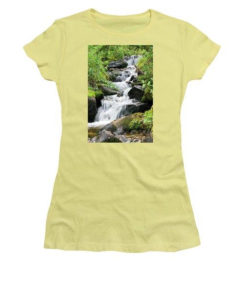 Women's T-Shirt (Junior Cut) featuring the photograph Oasis Cascade by David Chandler