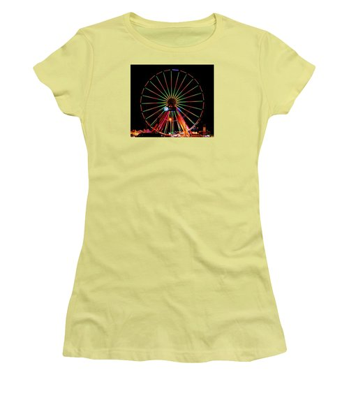 Oc Pier Ferris Wheel At Night Women's T-Shirt (Junior Cut) by William Bartholomew