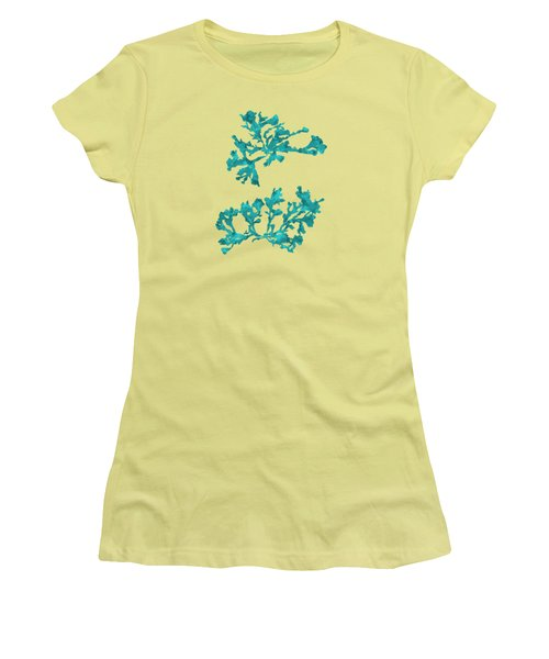 Women's T-Shirt (Junior Cut) featuring the mixed media Ocean Seaweed Plant Art Phyllophora Rubens by Christina Rollo