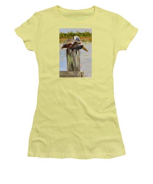 Ocean Springs Pelican Women's T-Shirt (Junior Cut) by Phyllis Beiser