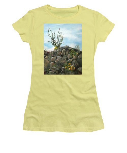 Ocotillo In Bloom Women's T-Shirt (Junior Cut) by Roseann Gilmore