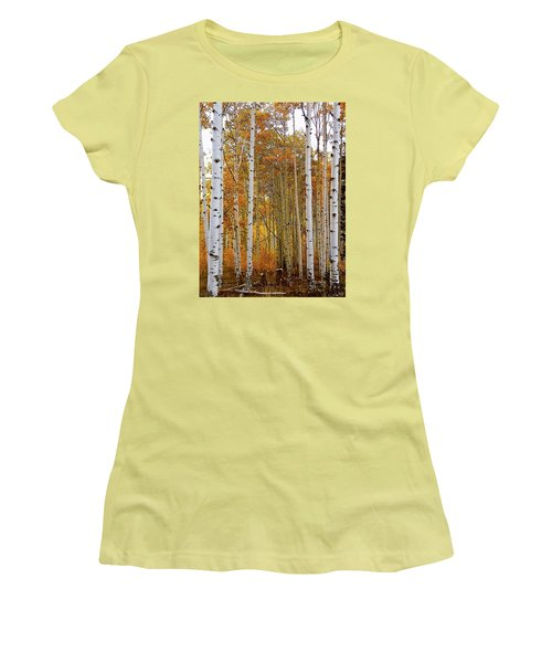 October Aspen Grove  Women's T-Shirt (Junior Cut) by Deborah Moen