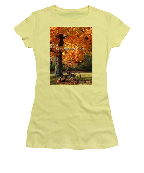 October Day Love Generosity Hope Women's T-Shirt (Junior Cut) by Diane E Berry