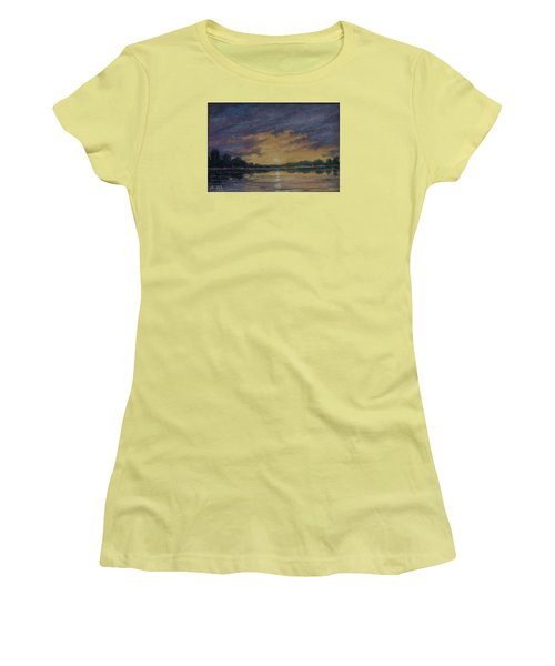 Women's T-Shirt (Junior Cut) featuring the painting Offshore Sunset Sketch by Kathleen McDermott