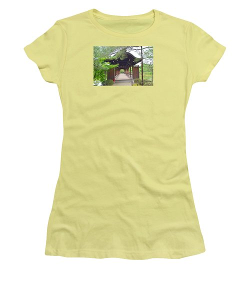 Women's T-Shirt (Junior Cut) featuring the digital art Okazaki Park And Heian Shrine by Eva Kaufman