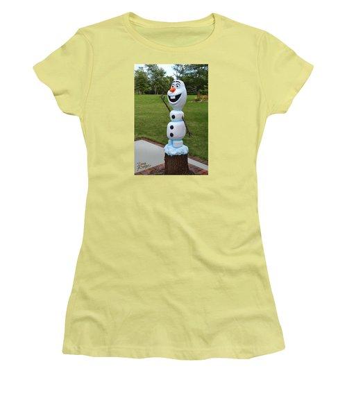 Olaf Wood Carving Women's T-Shirt (Junior Cut) by Doug Kreuger