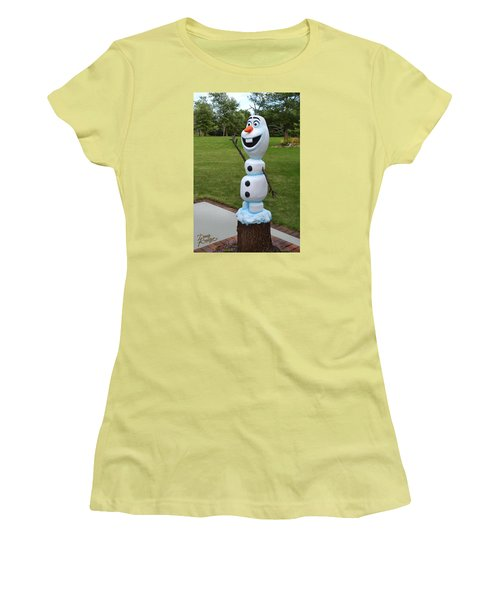 Olaf Wood Carving Women's T-Shirt (Athletic Fit)