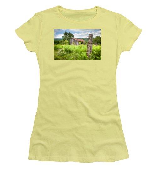 Women's T-Shirt (Junior Cut) featuring the photograph Old Barn Near Stryker Rd. Rustic Landscape by Gary Heller
