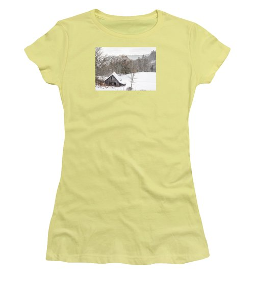 Old Barn On A Winter Day Wide View Women's T-Shirt (Junior Cut) by Tim Kirchoff