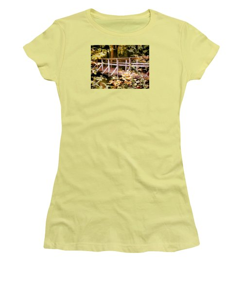 Old Bridge In The Woods In Color Women's T-Shirt (Junior Cut) by Rena Trepanier