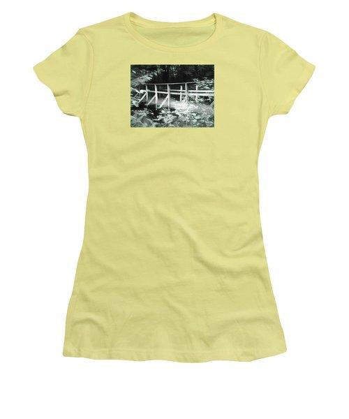Old Bridge In The Woods Women's T-Shirt (Junior Cut) by Rena Trepanier