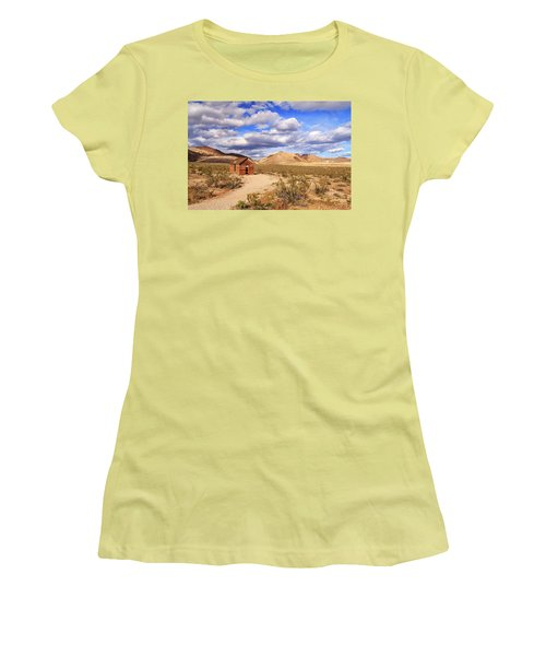 Women's T-Shirt (Junior Cut) featuring the photograph Old Cabin At Rhyolite by James Eddy