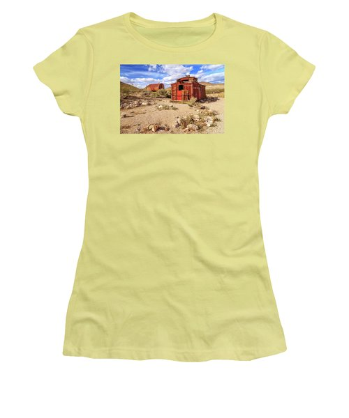 Women's T-Shirt (Junior Cut) featuring the photograph Old Caboose At Rhyolite by James Eddy