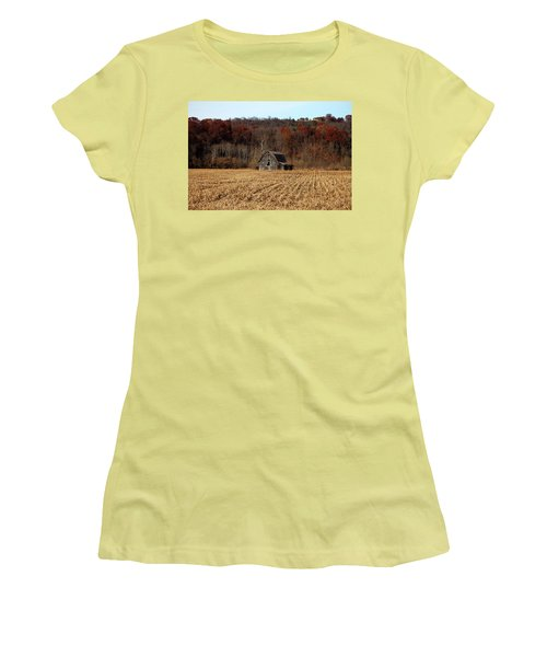 Old Country Barn In Autumn #1 Women's T-Shirt (Athletic Fit)