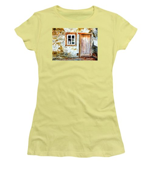 Women's T-Shirt (Junior Cut) featuring the painting Old Farm House by Sher Nasser