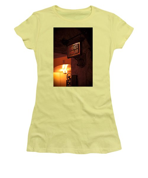 Women's T-Shirt (Junior Cut) featuring the photograph Old Fashioned Ladies Parlor Sign by Carolyn Marshall