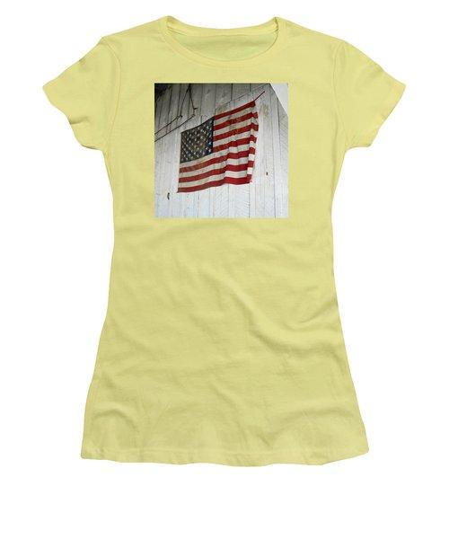 Old Glory Women's T-Shirt (Junior Cut) by Laurel Powell