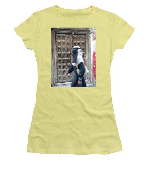 Old Lamu Town Muslim Woman Walking Women's T-Shirt (Junior Cut) by Exploramum Exploramum
