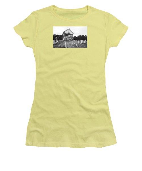 Women's T-Shirt (Junior Cut) featuring the photograph Old Log Church by Trina  Ansel