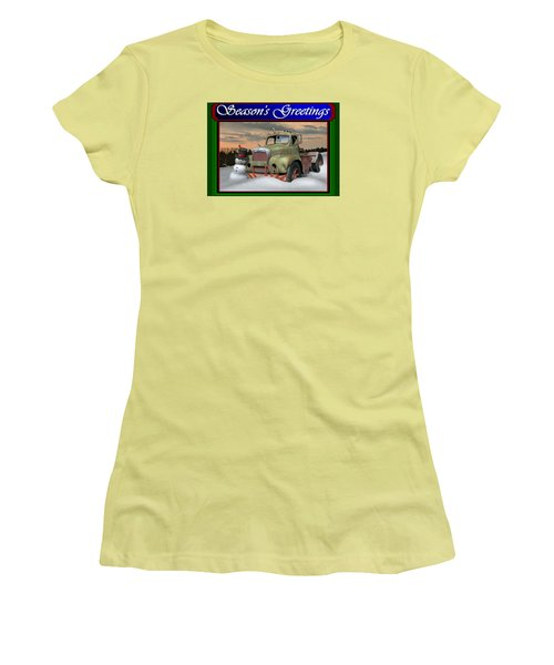 Women's T-Shirt (Junior Cut) featuring the digital art Old Mack Christmas Card by Stuart Swartz