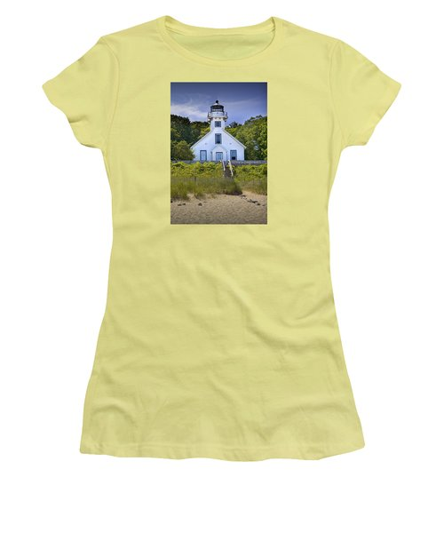 Old Mission Point Lighthouse In Grand Traverse Bay Michigan Number 2 Women's T-Shirt (Junior Cut) by Randall Nyhof