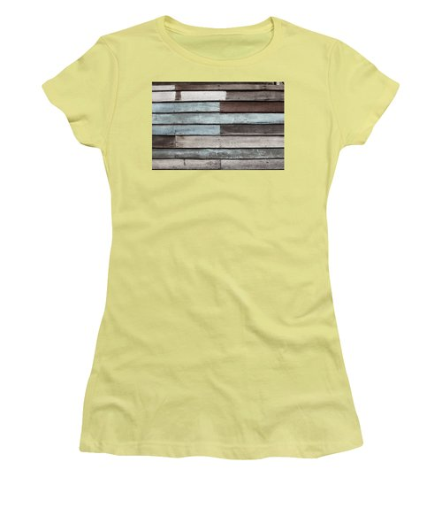 Women's T-Shirt (Junior Cut) featuring the photograph Old Pale Wood Wall by Jingjits Photography