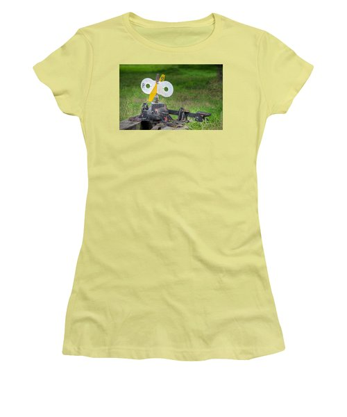 Women's T-Shirt (Junior Cut) featuring the photograph Old Railroad Switch In The Grass by Gary Slawsky