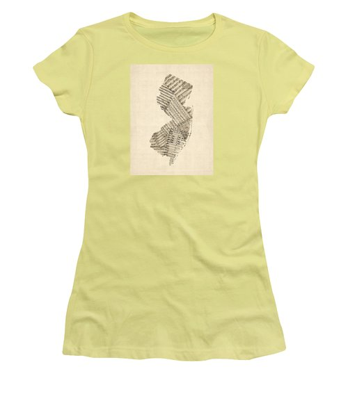 Old Sheet Music Map Of New Jersey Women's T-Shirt (Junior Cut) by Michael Tompsett