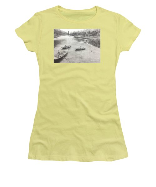 Women's T-Shirt (Junior Cut) featuring the drawing Old Time Camp Days by Mary Lynne Powers