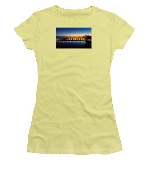 Old Town Pier Blue Hour Sunrise Women's T-Shirt (Athletic Fit)