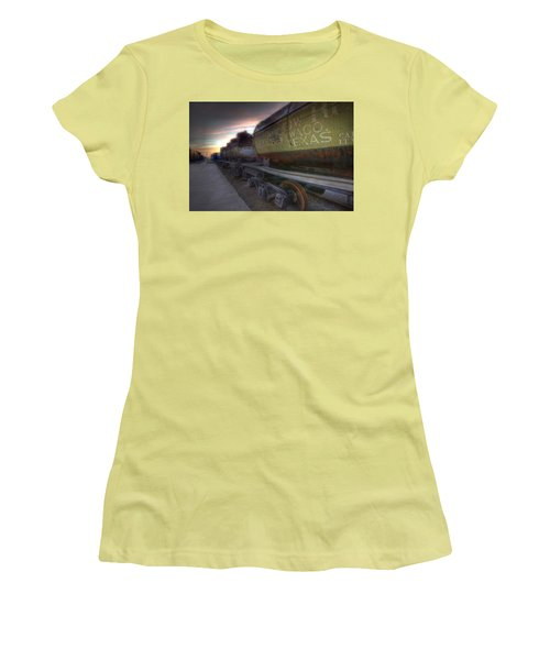 Women's T-Shirt (Junior Cut) featuring the tapestry - textile Old Train - Galveston, Tx 2 by Kathy Adams Clark
