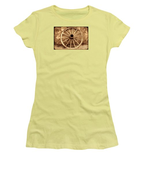 Old Wagon Wheel Women's T-Shirt (Junior Cut) by American West Legend By Olivier Le Queinec