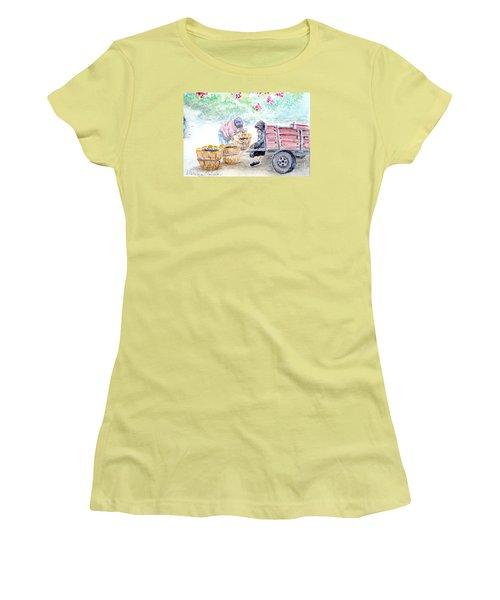 Olive Pickers Women's T-Shirt (Junior Cut) by Marilyn Zalatan