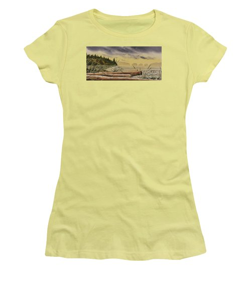 Women's T-Shirt (Junior Cut) featuring the painting Olympic Seashore Sunset by James Williamson