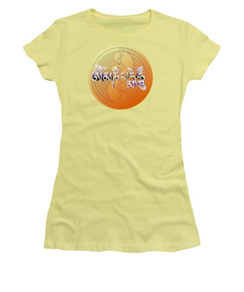 Women's T-Shirt (Athletic Fit) featuring the digital art Om Mani Padme Hum by Robert G Kernodle