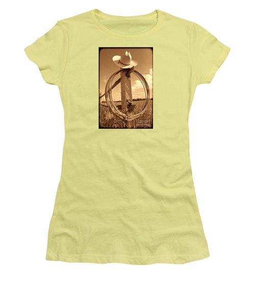 On The American Ranch Women's T-Shirt (Junior Cut) by American West Legend By Olivier Le Queinec